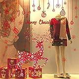 Fabseller Wandaufkleber für Fenster, Weihnachtsdesign, Rentier, Weihnachtsbaum, Schneeflocken, Weihnachtsbaum, Weihnachtsmann, Wanddekoration, Dekoration für Weihnachten, Zuhause, Büro, Geschäft Red Deer