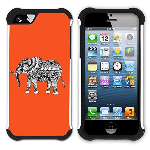 Graphic4You Stammes- Elefant (Wasserblau) Hart + Weiche Kratzfeste Hülle Case Schale Tasche Schutzhülle für Apple iPhone SE / 5 / 5S Orange