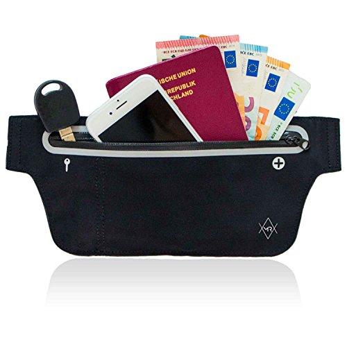 MR Couture – Ultra flache wasserfeste Neopren Bauchtasche - Hüfttasche - speziell für Wertsachen beim Reisen Sport und in der Freizeit – Verstauen Sie Handy, Geld und Kopfhörer in der Gürteltasche
