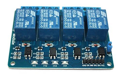 Preisvergleich Produktbild 4-Kanal-Relais-Modul, 5V Relay-Module mit Optokoppler, Status-LEDs für Arduino und Raspberry Pi