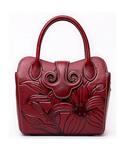 Niedlich Damen Handtaschen, Hobo-Bags, Schultertaschen, Beutel, Beuteltaschen, Trend-Bags, Velours, Veloursleder, Wildleder, Tasche Weinrot Keshi