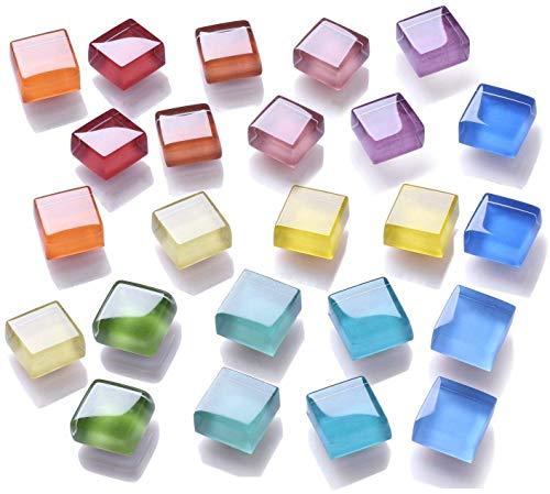 Mymazn Kühlschrankmagnete, Quadratische Kühlschrankmagnete, Büro-Magnete, Whiteboard-Magnete, Küchenmagnete Bunte niedliche lustige Dekoration 15mm x 15mm (12 Farben, 24er Pack) - Magnete Quadratische
