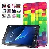Schutzhülle für Samsung Galaxy Tab A 7.0 Skin, PU Ledertasche im Bookstyle Leder hülle für Samsung Galaxy Tab A (2016) 17,8 cm (7 Zoll) SM-T280 Tasche Hülle Flip Case Cover Schutzhülle Skin (#2 Farbquadrat)