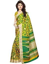 Indian Fashionista Women's Khadi Jute Silk Saree with Blouse Piece (Big Border Saree) (NMKHADIJUTESILK-07_Free Size_Green)