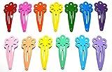 24 Pcs Mix Color Flower Hair Snap Clip Size 45 Mm (Mix Bright and Pastel Tone) 13 Colors by Little Dream