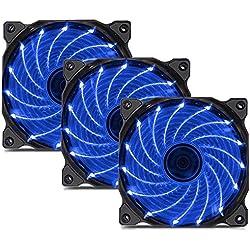 upHere Ventilateur Boîtier PC Ordinateur Dissipateur LED 120mm Bleu Silencieux