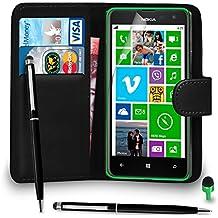POUR Nokia Lumia 625 - SHUKAN® Prime Cuir NOIR Portefeuille Cas Coque Couverture avec Balle Stylo Toucher Style VERT Cap Protecteur d'écran & Tissu de polissage