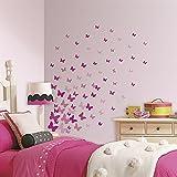Hochwertiger Wandtattoo Tattoo Wand Tattoo Schmetterlinge Pink / Pinke Schmetterlinge / Butterfly / rosa / künstlerisch mit außergewöhnlichem Design macht die Wand zu einen echten Blickfang