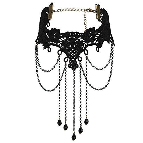 Daesar Joyería Mujer Joven Acero Inoxidable Gótico Bola Colgante Tassels Elástico Encaje Negro Choker Necklace, 26.5+11.7CM