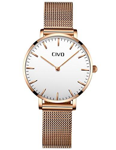 CIVO Damen Uhren Ultra Dünn Silm Minimalistisch Damenuhr Wasserdicht Kleid Armbanduhren Beiläufig Edelstahl Mesh Quarzuhr für Frau Lady Teenager Mädchen (Gold/Weiß)
