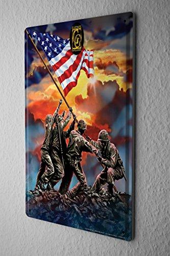 Cartello Targa In Metallo Tin Viaggio Mondo Bandiera degli Stati Uniti soldati Piastra Decorativa 20X30
