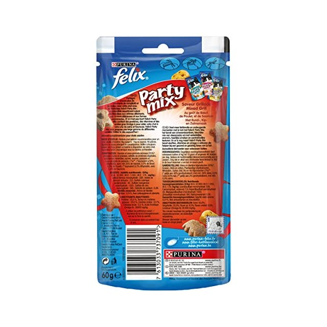 Felix Party Mix Saveur Grillade : B½uf, Poulet, Saumon - 60 g - Friandises pour Chat - Lot de 8