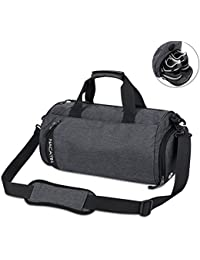 NACATIN Gym Bag, Waterproof Sports Duffle Bag Training Handbag with Shoe Compartment,25L Large Travel Shoulder Tote Bag 50 × 24 × 24cm for Men, Women and Children(Blue&Dark Gray)