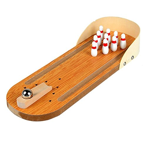 Desktop Bowling Spielzeug - TOOGOO(R)Mini Desktop Bowling Spiel Set aus Holz Bowling Alley Ten Metall Pinball Schreibtisch