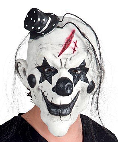 Boland 97507Horror Psycho Clown Latex Maske mit Haar, weiß/schwarz, One Size