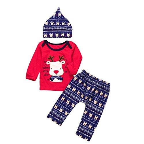 OVERDOSE Neugeborene Säuglingsbaby Mädchen Jungen *My First Halloween *Pumpkin Romper Kürbis Spielanzug Top + Hosen + Hut Halloween Kleidung Satz (3 Monate, F-Red-Christmas)