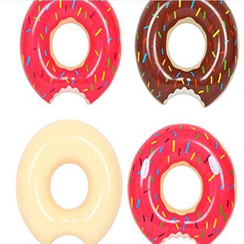Mart 2 Packungen Donut Pool Float Aufblasbarer Schwimmring 70 cm für Kinder 3–10 Jahre (Erdbeere und Schokolade)