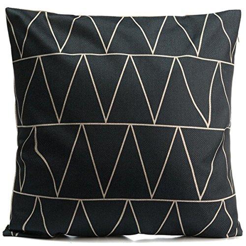 MAYUAN520 Coussins Nouveau Vintage Black &White Coton Lin Taie d'oreiller Jeter en Forme De Crête De Montagne Les Taies,Style 18 Styles 18