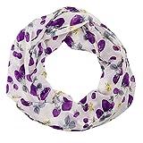 MANUMAR Loop-Schal für Damen | feines Hals-Tuch in lila grau mit Beeren Motiv als perfektes Frühling Sommer Accessoire | Schlauch-Schal | Damen-Schal | Rund-Schal | ideales Geschenk für Frauen