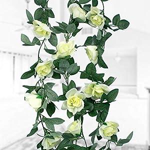 Natuce 16 Rosas(1PCS),Guirnalda de Flores Artificiales, Artificiales Plantas Colgantes, Flores de decoración para Bodas…