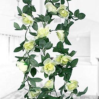 Natuce 16 Rosas(1PCS),Guirnalda de Flores Artificiales, Artificiales Plantas Colgantes, Flores de decoración para Bodas, Casas, Fiestas y Jardines