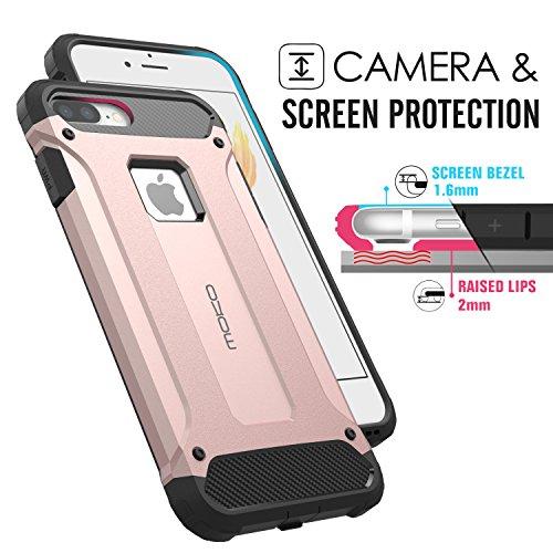 MoKo Hülle für iPhone 7 Plus - Premium Dual Layer Ultra dünn Rüstung Case Anti-Kratz Stoßfest TPU+PC Schutzhülle Handy Tasche Bumper für Apple iPhone 7 Plus, Schwarz Rose Gold