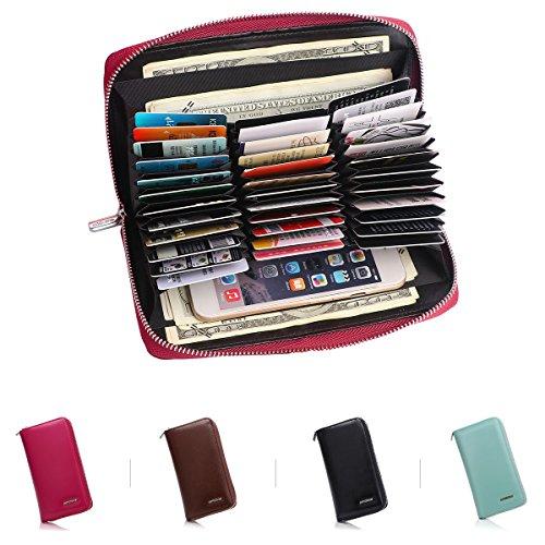 APHISONUK Women Men RFID Blocking Long Purse Soft Leather Card Wallet Large Capacity Credit Card Holder Ladies Travel Wallet/36 slots/24 Slots/(Black/Brown/Purple/Blue)/Gift Box