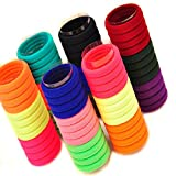 #2: FOK Set Of 50 Pcs High Quality Effortless Multi Bright Colored Elastic Cotton Stretch Hair Ties Bands Headband Durable Hair accessories Ponytail Holder No Snagging Or Stretching Rubber Bands