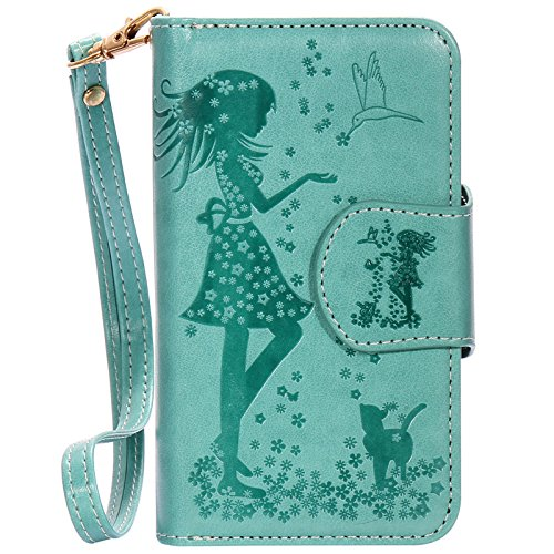 Lankashi Housse Case Stand Cuir Cover Flip Etui Coque Protection Skin Wallet Pour Apple iphone 5 5G 5S Green Desing Green