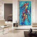 XIAOXINYUAN 100% Handgemalt Öl Malerei Chinesische Abstrakte Neun Koi-Fische Landschaft Mauer Kunst Bild Für Wohnzimmer Modernes Dekor 50 X 75Cm