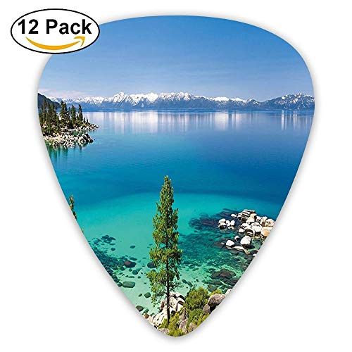 Tranquil View Of Lake Tahoe Sierra Pines On Rocks With Turquoise Waters Shoreline Guitar Picks 12/Pack Set -