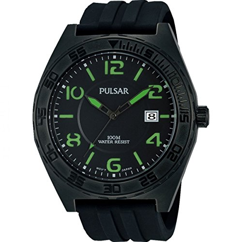 Pulsar Mens Black Rubber Quartz Analog PS9317X1