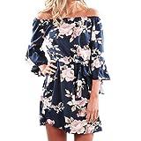 TIREOW-Damen Kleider Sommer Dünne Schulterfrei Ärmelloses Schlinge Taschen Unregelmäßig Partykleid Mini Strandkleid Abendkleid (XL)