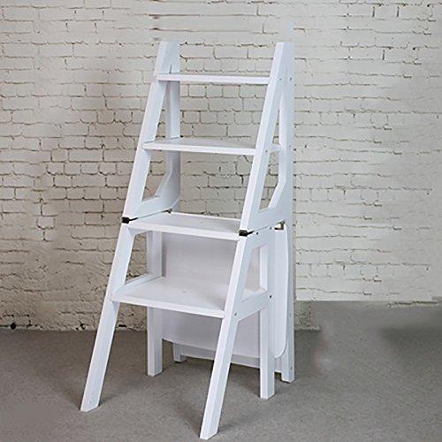 RMJAI Leiter Hocker Massivholz Tritthocker Haushalt Zwei Stufen Klappleiter Küche Doppeltem Verwendungszweck DREI Schichten Treppenhocker Tritthocker (Color : White)