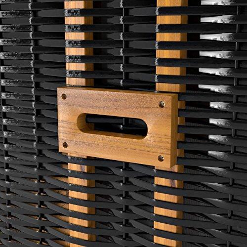 Strandkorb Deluxe Polyrattan Sylt Ostsee Volllieger inkl. 4x Kissen XL120cm Grau Unifarben - 6