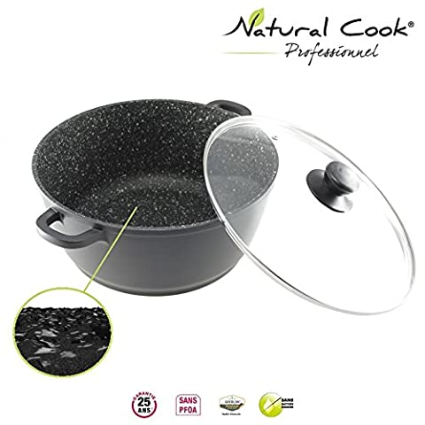 Natural Cook professionnel Stockpot Double Hand In Nonstick Stonelike Granitelike & Ceramic Coating Cookware With Glass Cover - Suitable For All Cookers, Even Induction Cookers 28cm