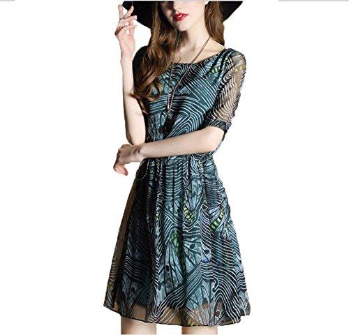 hippolo die Größe der Frau des Sommers 2017War Dünn in fünf Punkte in Ärmel aus PU in Seide Kleid aus Chiffon 2XL grün -
