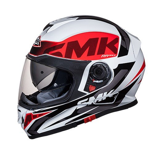 SMK GL132 Twister Logo Graphics Pinlock Fitted Full Face Helmet With Clear Visor (Gloss White, Red and Black, L)