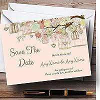 Vintage Shabby Chic Birdcage Corallo personalizzato matrimonio Save The Date Cards, 50 Invites & Envelopes - Data Busta