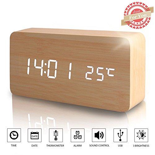 LED Digital Wecker Modern Holz Wecker Tischuhr mit Uhrzeit/Datum/Woche/Temperatur Anzeige,Einstellbare Helligkeit Sound Control-Schreibtisch-Wecker für Heim und Büro (Braun-2) Sound Aktiviert Led-licht