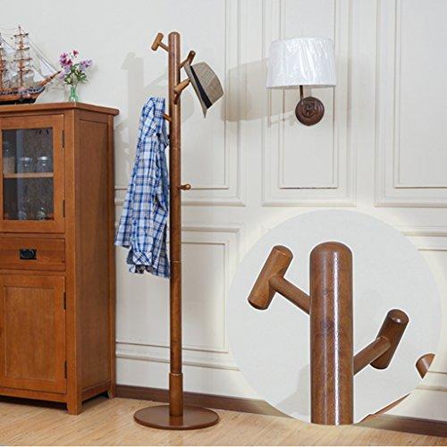 Kleiderablage ZCJB Massivholz Kleiderständer Kleiderbügel Kreative Einfache Schlafzimmer Kleiderbügel Moderne Wohnzimmer Floorstanding Große Kleiderbügel (Farbe : Braun)