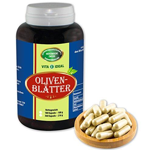 VITA IDEAL ® Oliven-Blätter (Olea europaea) 180 Kapseln je 600mg, aus rein natürlichen Kräutern, ohne Zusatzstoffe