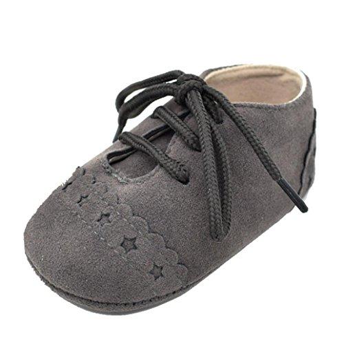 FNKDOR Baby Jungen Mädchen Schuhe Lauflernschuhe Krabbelschuhe für 0-18 Monate (12-18 Monate, Dunkelgrau)