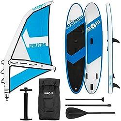Klarfit Spreestar WM • Paddle Surf con o sin Vela • Tabla Sup Hinchable • Set Completo • 300x10x71 cm • Vela 4 m • Bomba de Aire manómetro • Transportable con Mochila • Kit reparación • Blanco y Azul