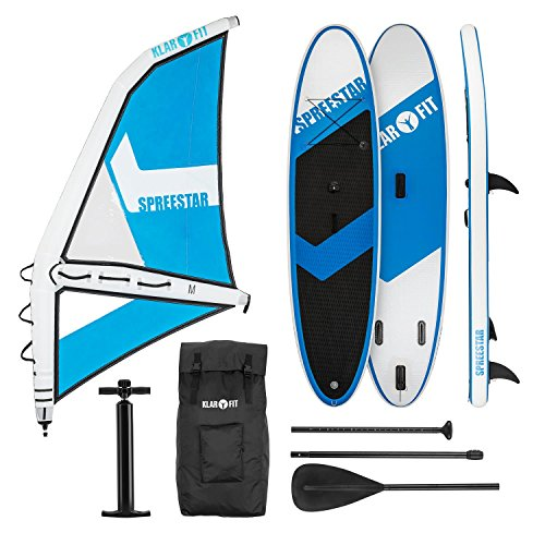 Klarfit Spreestar WM • Paddle Surf con o sin Vela • Tabla Sup Hinchable • Set Completo • 300x10x71 cm...