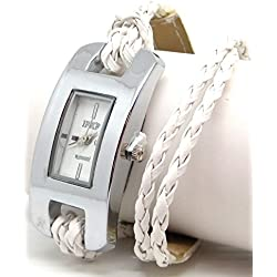 Ladies Oblong White Faced Watch with White Plaited Multi Stranded Strap