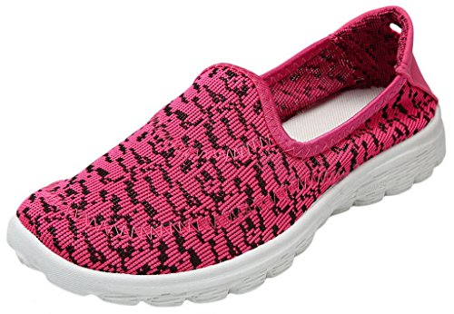 EOZY Chaussure Sport Femme Maille Sneakers Basse Baskets Espadrilles Running Jogging Rose