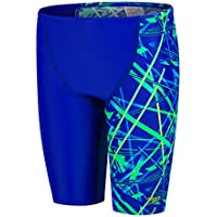 Speedo Cosmic Beats Allover V Cut Panel Bañador, Niños, Azul (ultrasonic) / Verde Falso, 32