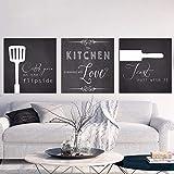 Vintage en blanco y negro de pared cuadros de estilo nórdico lienzo Art Print cocinar con amor cocina cotizaciones pintura decoración para el hogar 50x50cmx3 sin marco