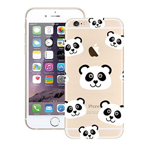 Cover per iPhone 5 / 5S / SE, VemMore Custodia in Silicone Trasparente Case di Flessibile Morbido TPU Caso Gel Gomma Cristallo Chiaro Protezione Copertura di Ultra Sottile con Creativo Pattern Antiurt Panda